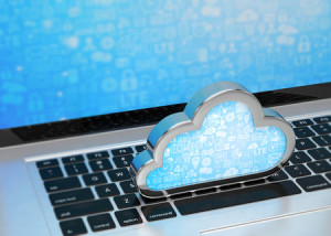 44141819 - laptop with cloud computing symbol on keyboard. 3d render